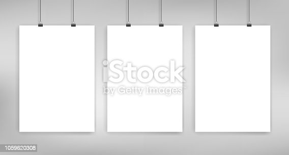 Three hanged poster a4 size mockup. Vector template on light gray background