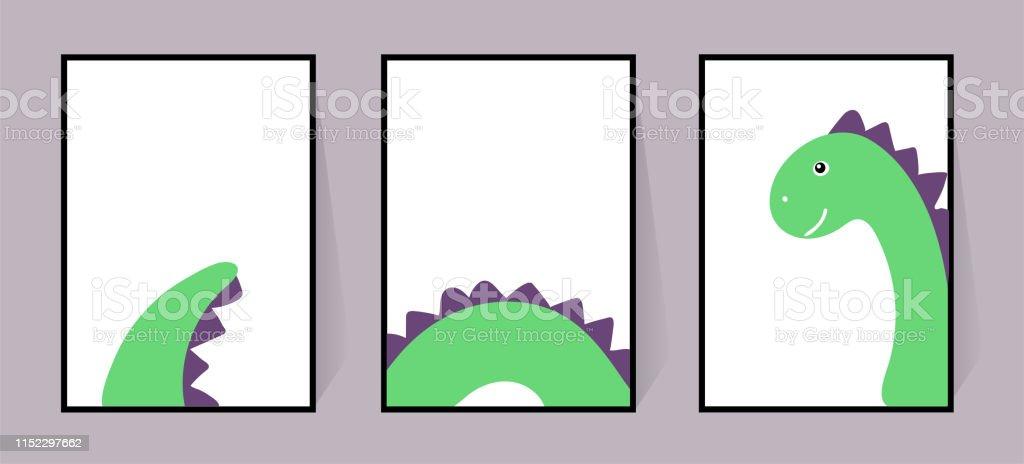Ilustración De Tres Carteles Con Un Lindo Dinosaurio Verde