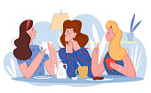 Three pretty women in cafe flat line character vector illustration concept. Interesting lively conversation with cup of tea or coffee, attention to friend, comic lovely persons at abstract background