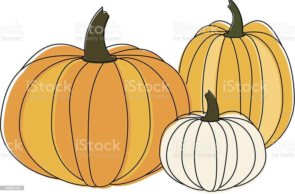 Three Pumpkins vector art illustration