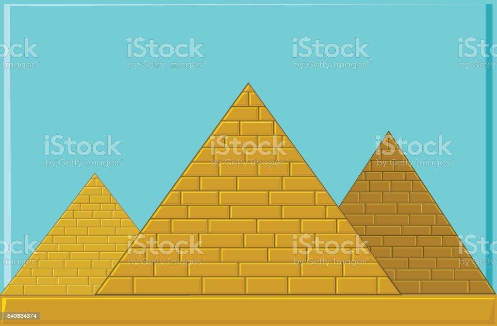 Three Pyramids of ancient Egypt of blocks vector art illustration