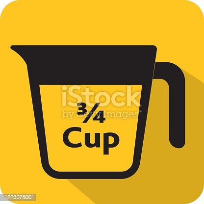 Vector illustration of units and measures 3/4 cup for recipe blogs, cooking classes or any food and drink instructions. Includes Measuring cup of vector eps and jpg in download. Easy to edit vector format.