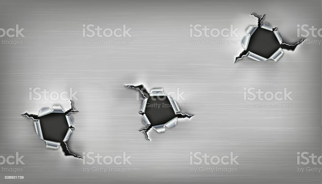 three ragged holes in the metal vector art illustration