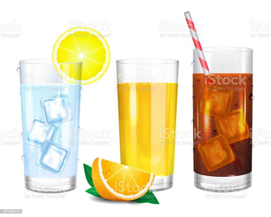 Three realistic glasses of drinks. Cola with straw. Yellow orange juice and piece of fruit. Water with ice cubes. Vector illustration on white background. - illustrazione arte vettoriale
