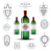 Three realistic mock up green bottle of wine and set of silhouette labels on white background. Vector illustration one bottle sharp and two bottles depth of field