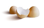 Three realistic light beige eggshells lying on white background with realistic shadows. Artistic work based on a self made photo of eggshells lying on my desk.