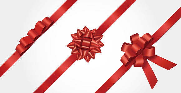 three red ribbons and bow vector