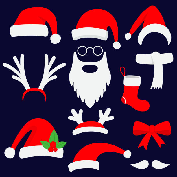 stockillustraties, clipart, cartoons en iconen met drie rode santa hoeden, hoorns, snor, baard en christmas stocking. vectorillustratie. - kerstmanhoed