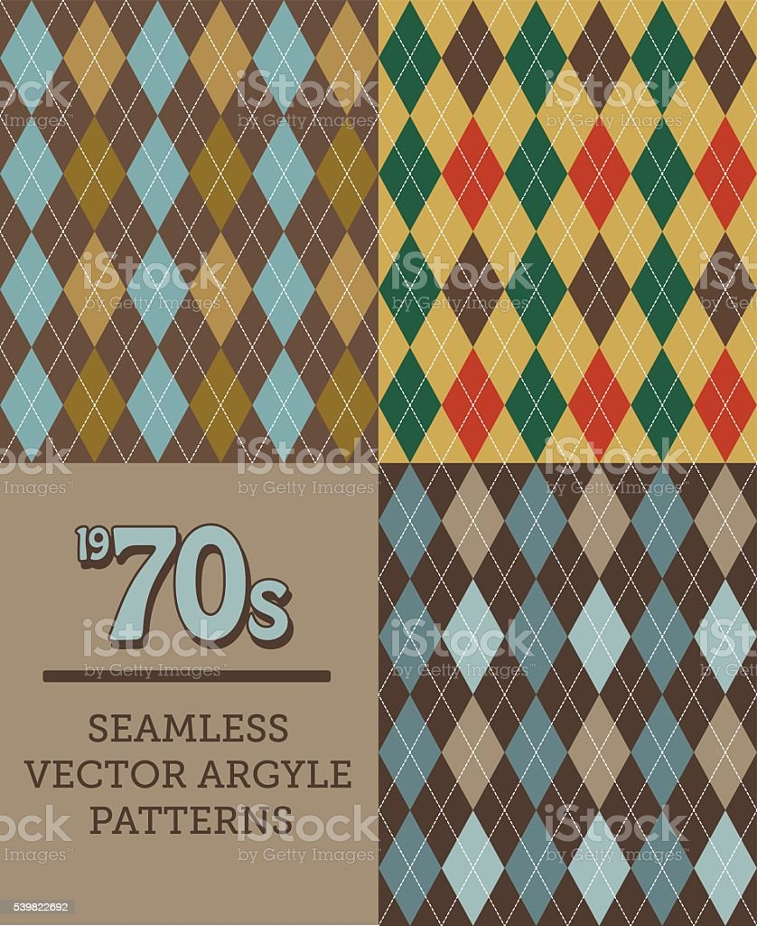 Three Retro 1970s-style Seamless Argyle Patterns vector art illustration