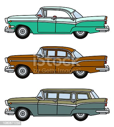 The hand drawing of three funny retro large american cars