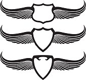 three retro black shields with wings