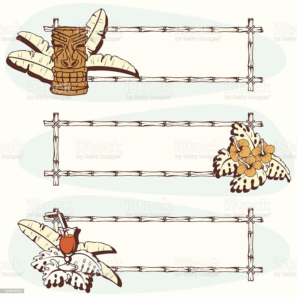 Three retro hawaiian banners vector art illustration