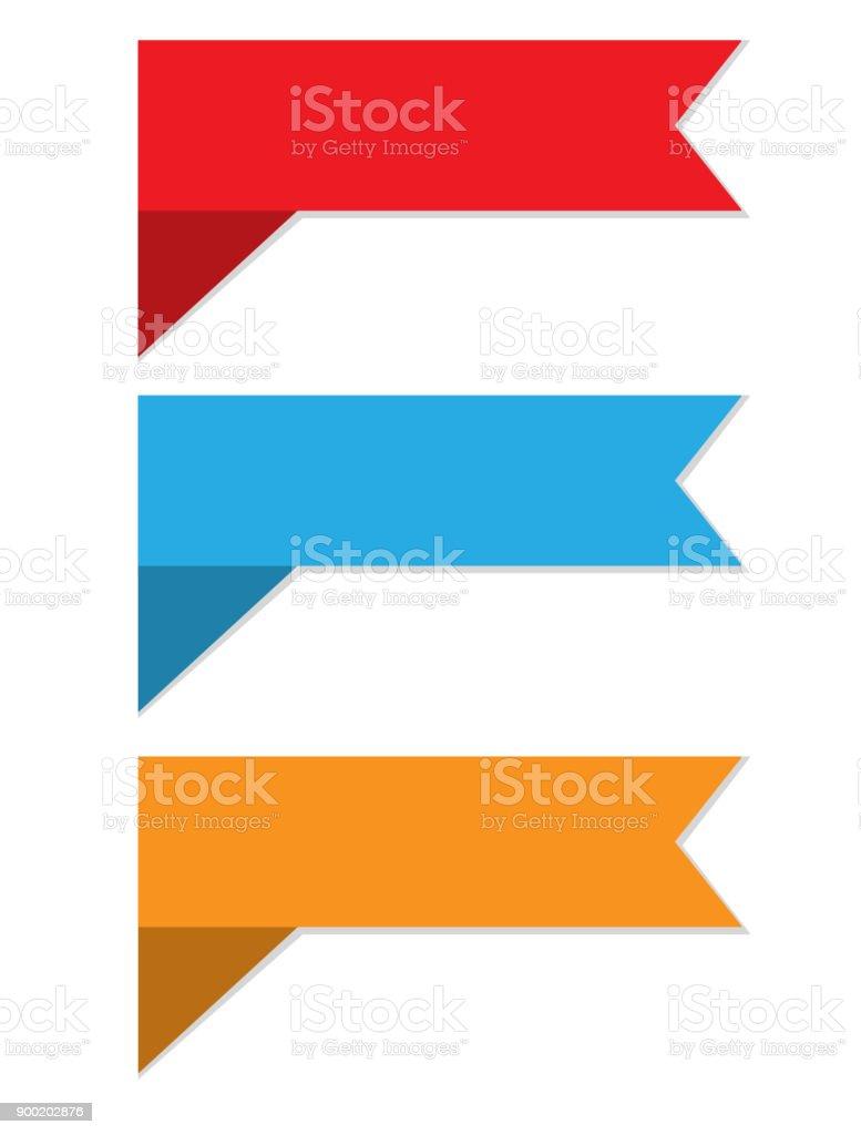 three ribbon banner on white background. set of 3 banner and ribbon design elements. vector art illustration