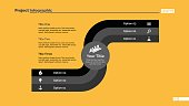 Three options process chart slide template. Business data. Graph, diagram. Creative concept for infographic, presentation, report. Can be used for topics like finance, banking.