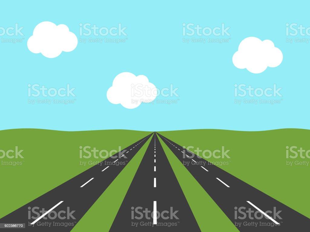 Drei Straßen, perspektivische Ansicht – Vektorgrafik