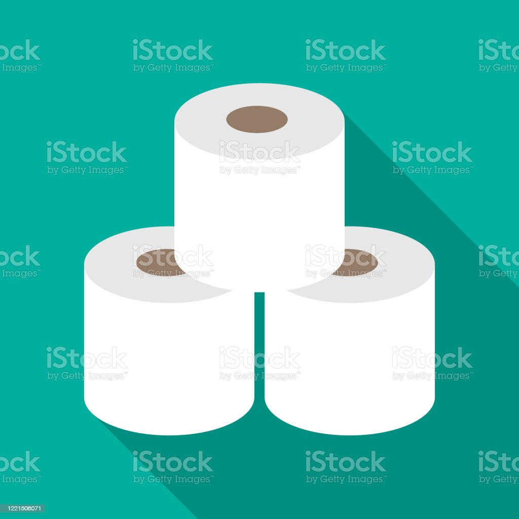 Three Rolls Of Toilet Paper Icon - arte vettoriale royalty-free di Accaparramento - Concetto