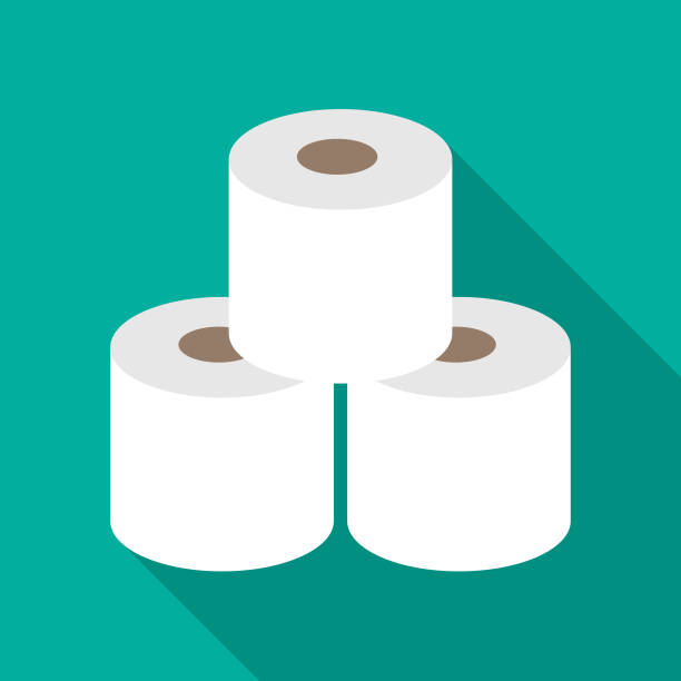 illustrazioni stock, clip art, cartoni animati e icone di tendenza di three rolls of toilet paper icon - carta igienica