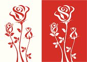 Vector illustration, three red roses on white background, and three white roses on red background. ZIP contains AI format and jpeg XLarge.