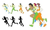 istock Three running girls. Silhouettes of girls who run. Full color vector illustration in flat style 1310221004