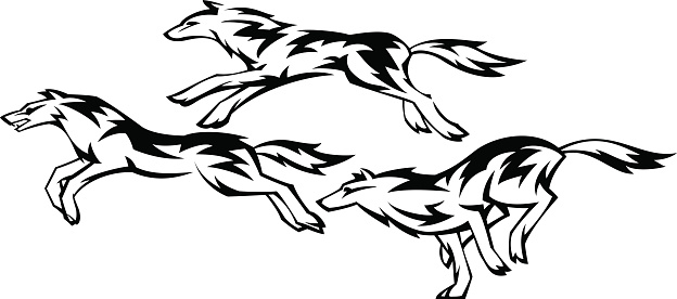 Three running wolves