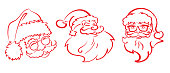 Three Santa Claus on a white background for holiday Christmas design. Vector image. Vector graphics