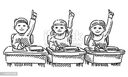 Three Schoolchildren Raising Their Hands In Classroom Drawing
