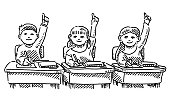 Three Schoolchildren Raising Their Hands In Classroom Drawing