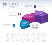 Pie chart 3D infographic isometric three 3 option pie chart info and data design.