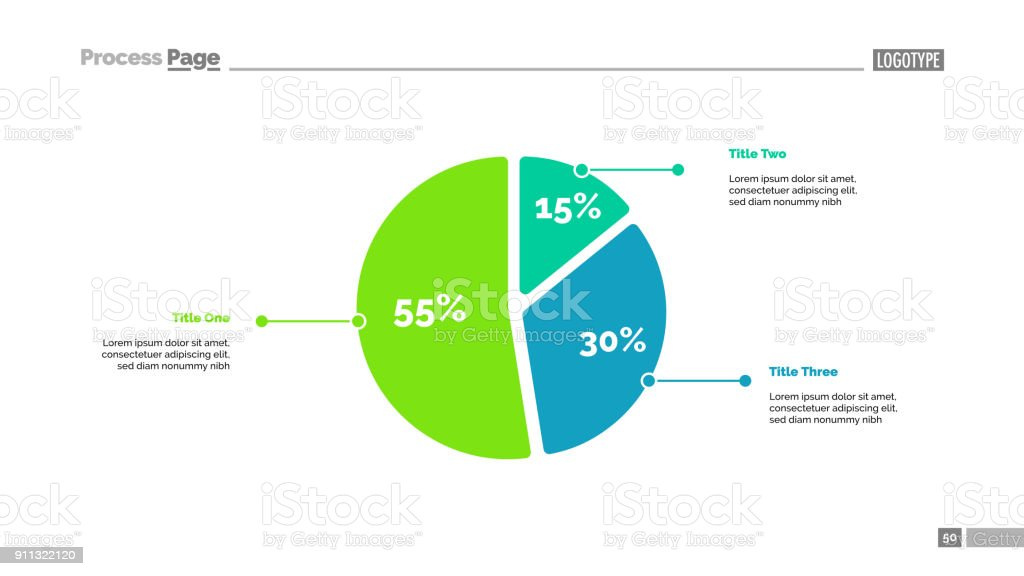 Three Sectors Pie Chart Slide Template Stock Vector Art More
