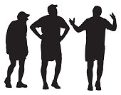 Vector silhouette of three senior men walking and talking together.