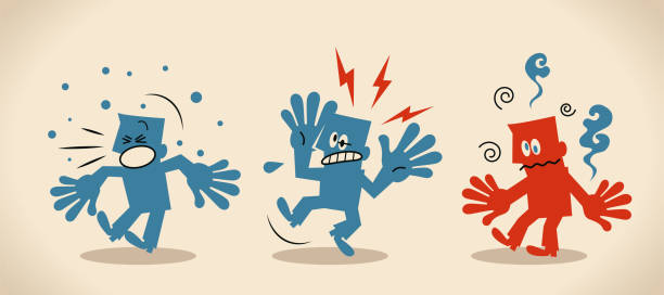 Three seriously ill people with symptoms of new coronavirus  (bacterium, virus) include fever, headache and cough vector art illustration
