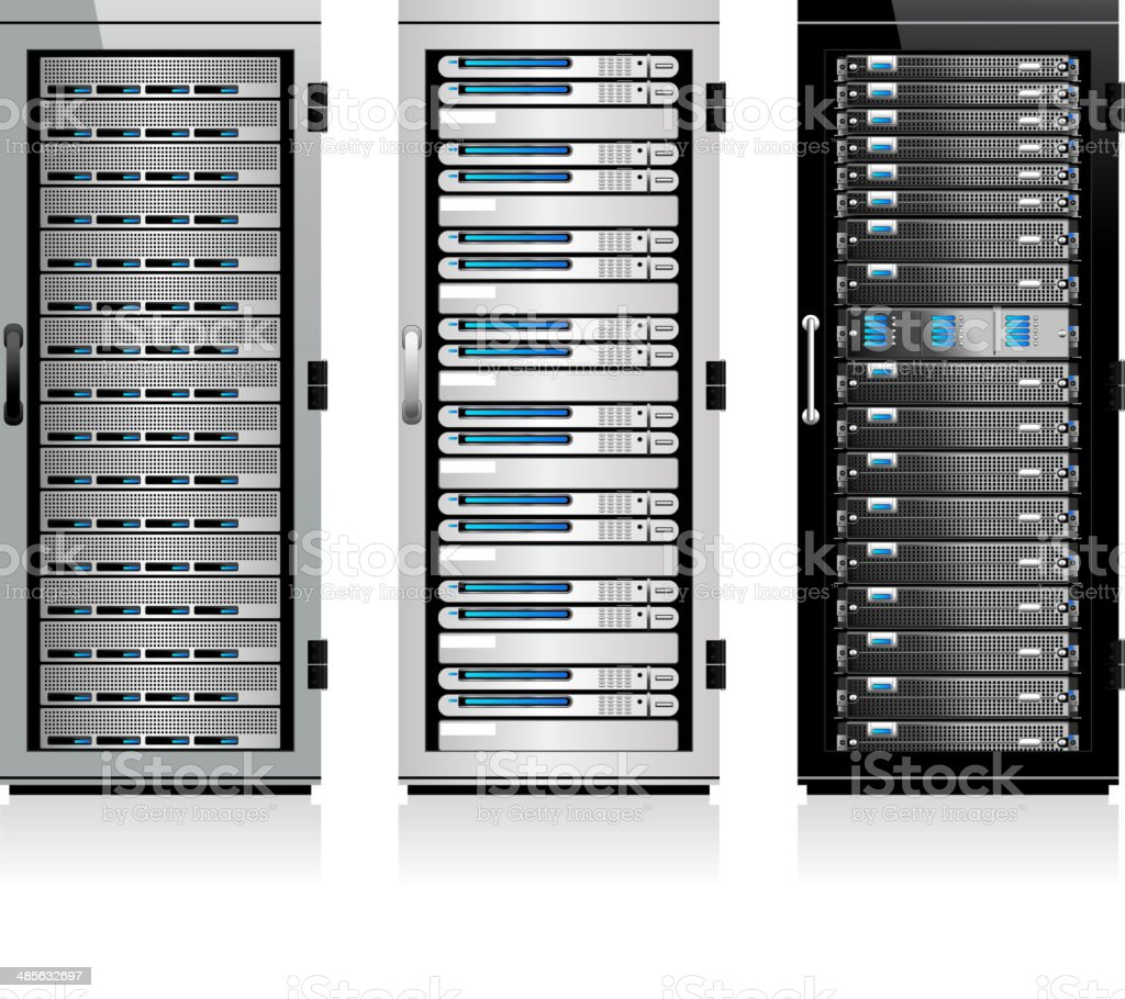 Three Servers - Server in Cabinets vector art illustration