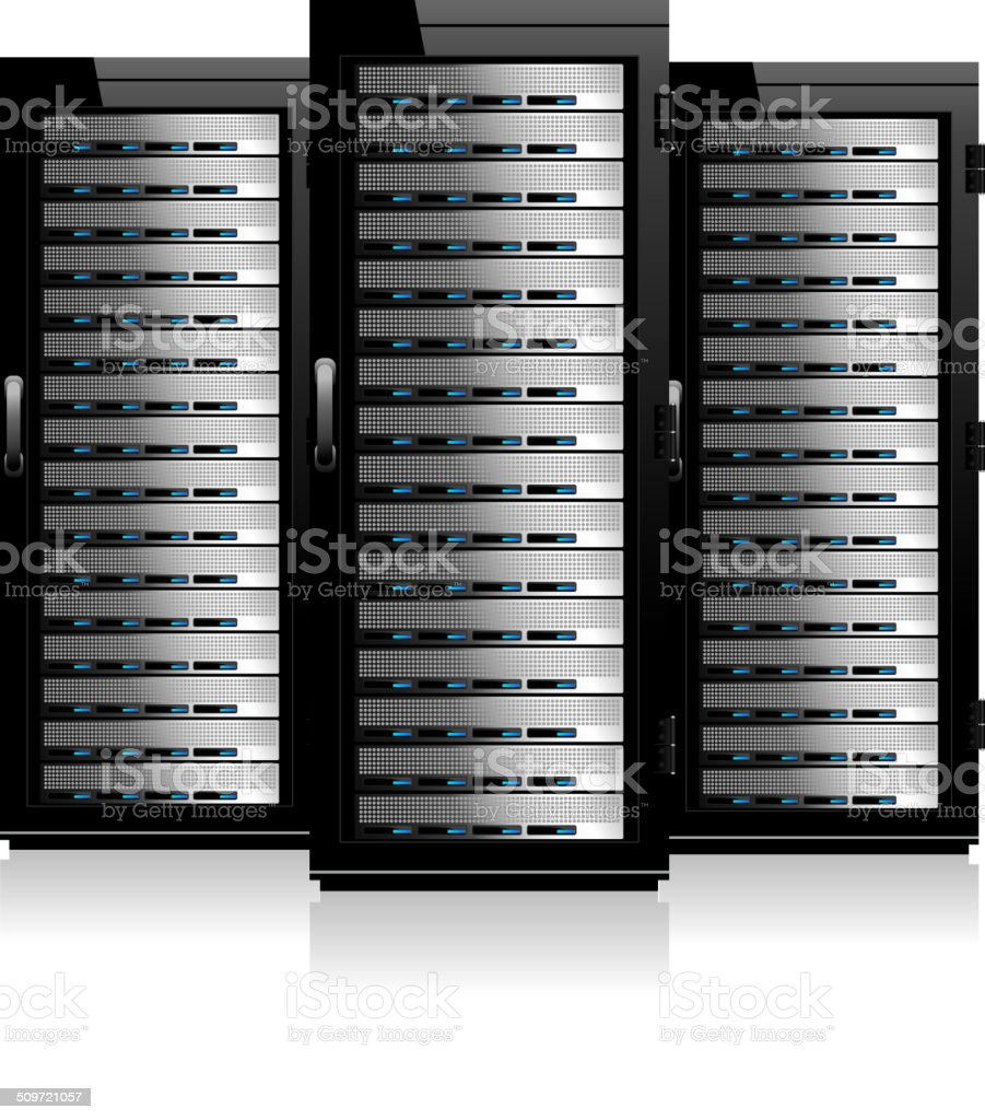 Three Servers - Server in Cabinets vector art illustration