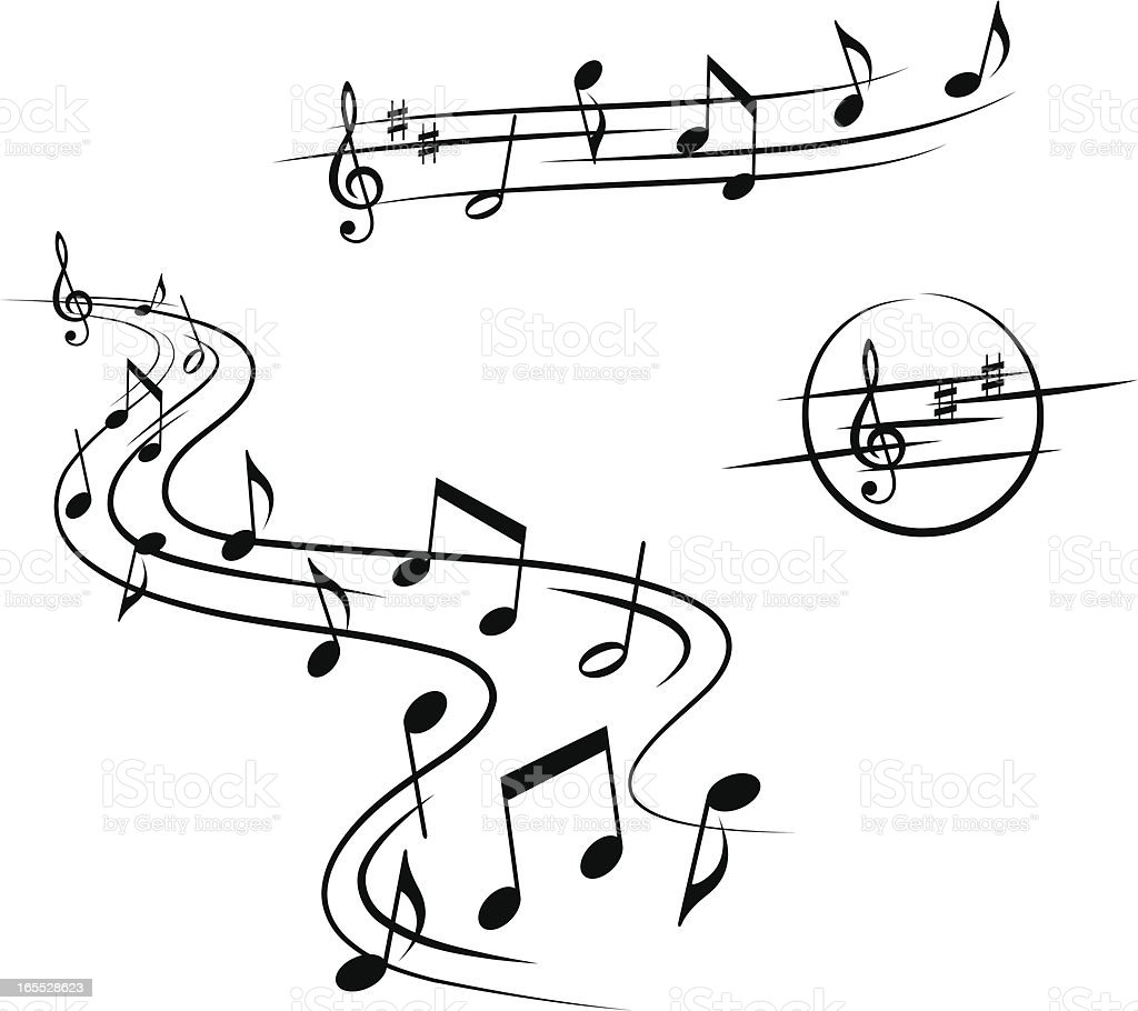 Three sets of musical design elements royalty-free stock vector art
