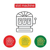 Slot. Slot machine - one armed bandit. Vector icons for video, mobile apps, Web sites and print projects. Three Seven Jackpot Display Icon. Single flat icon on white background. Editable stroke.
