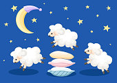 Three sheep jumping over the pillows sleep time count sheep's from insomnia on a blue background with stars and moon vector illustration web site page and mobile app design.