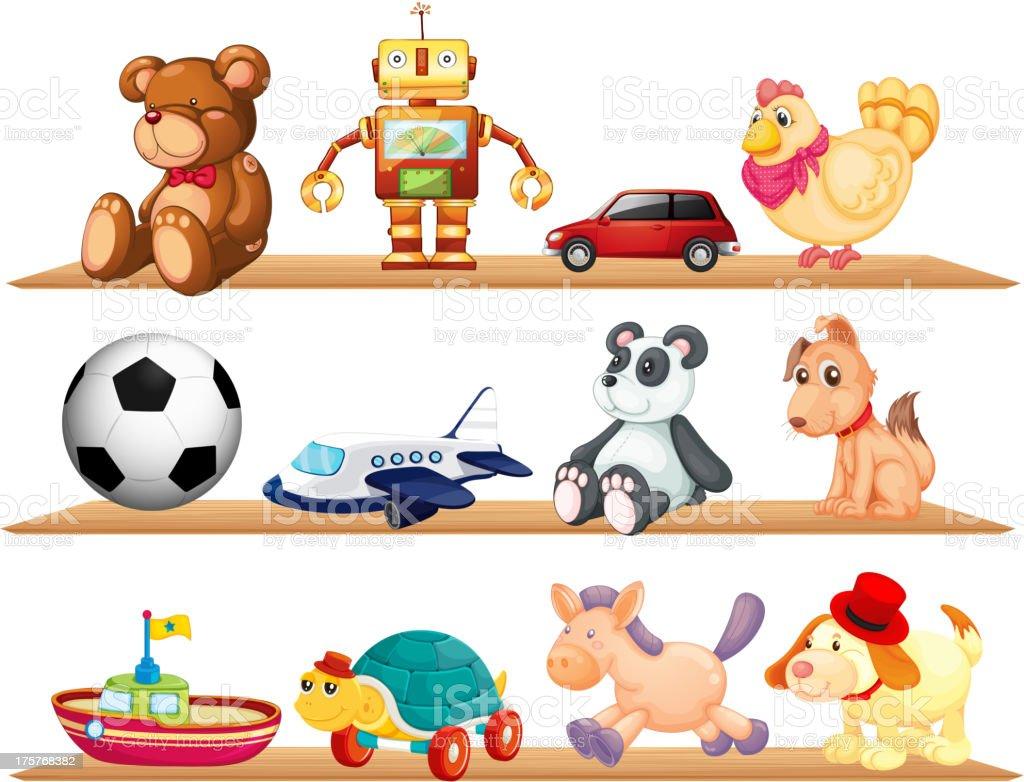 Three shelves full of children's toys vector art illustration
