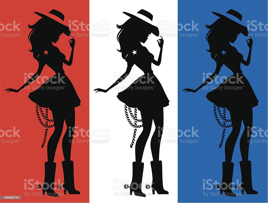 Three silhouettes of a cute cowgirl royalty-free three silhouettes of a cute cowgirl stock vector art & more images of adult