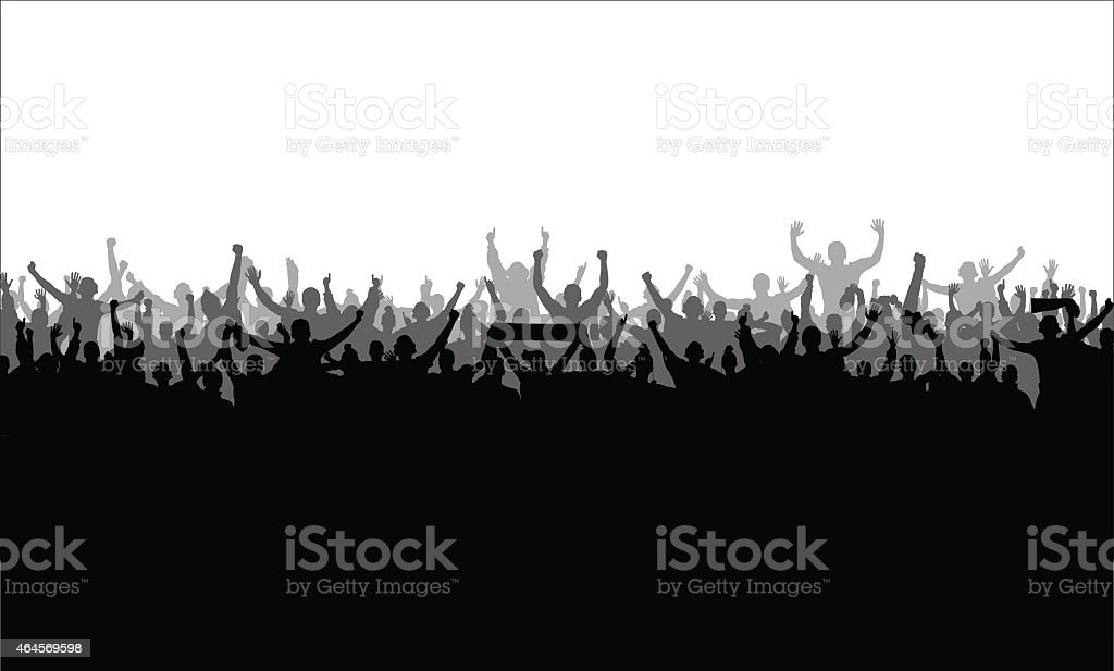Three silhouettes of cheering crowd overlaid black to white vector art illustration