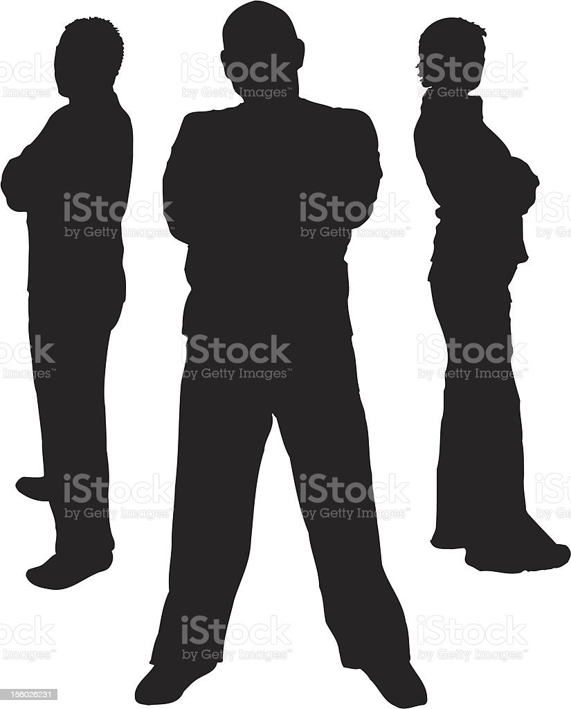 Three silhouettes of people who are standing  royalty-free stock vector art