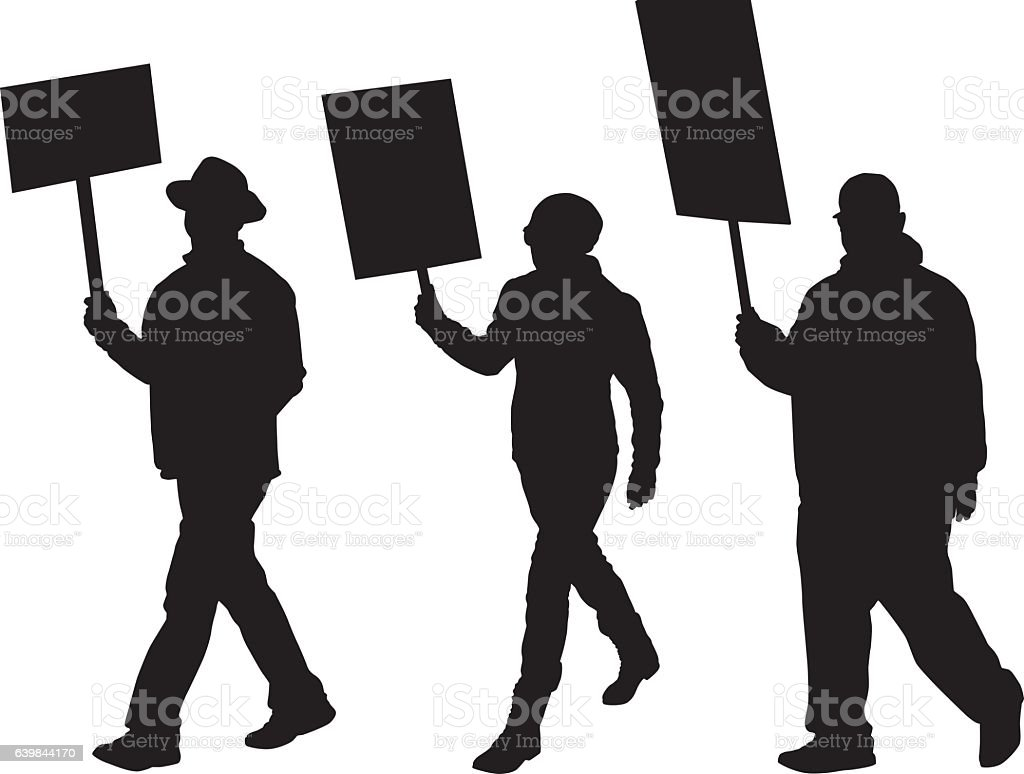Three Silhouettes Of Protesters Marching vector art illustration
