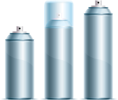 Three silver spray cans in different sizes