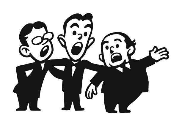stockillustraties, clipart, cartoons en iconen met drie zangers - tenor
