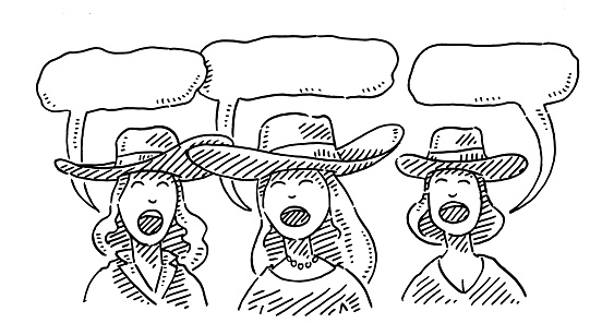 Three Singers With Cowgirl Hats Drawing
