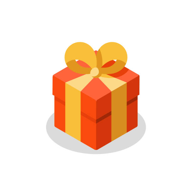 three sizes of gift, red box, yellow ribbon, present giveaway, special prize, happy birthday - prezent na urodziny stock illustrations