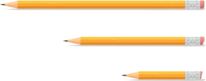 Three sizes of yellow pencils on white background