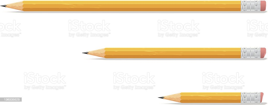 Three sizes of yellow pencils on white background vector art illustration