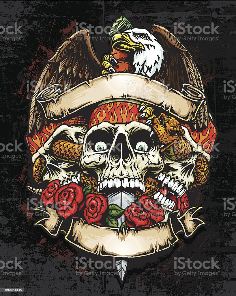 Three Skulls with Eagle and Banners vector art illustration