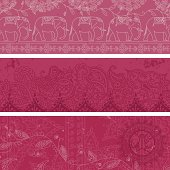 A collection of multilayered pink banners. (Includes .jpg)