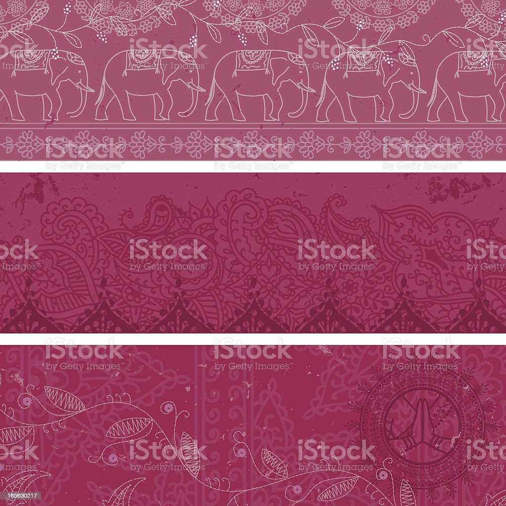 Three slightly different styled masala banners all in pink vector art illustration